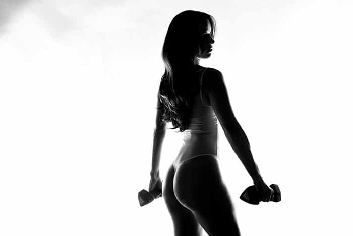 Black and white fitness photo.
