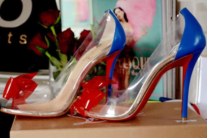 wedding shoes seen in bridal boudoir photo shoot