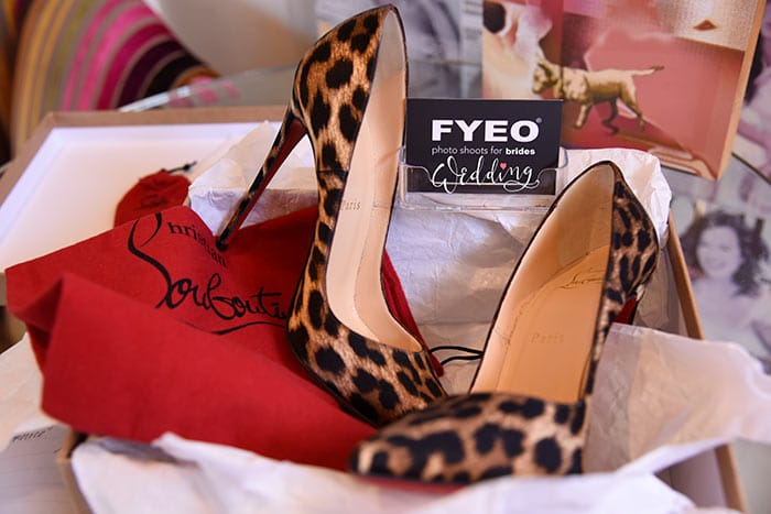 boudoir photography shoes seen in the bridal studio