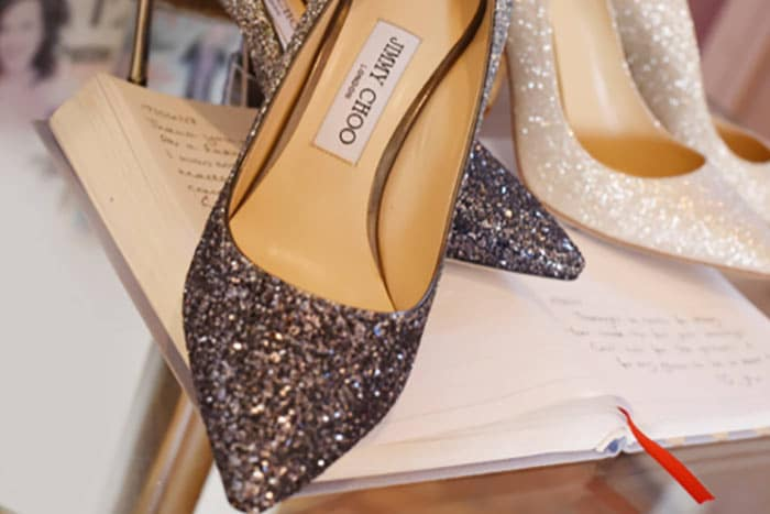 sparkly wedding shoes for bridal boudoir